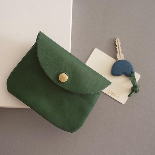 RENÉE Grip handbag, coin purse, earphone bag, small bag and key bag Plant tanned carved leather / vegetable tanned leather / vegetable tanned leather Forest green