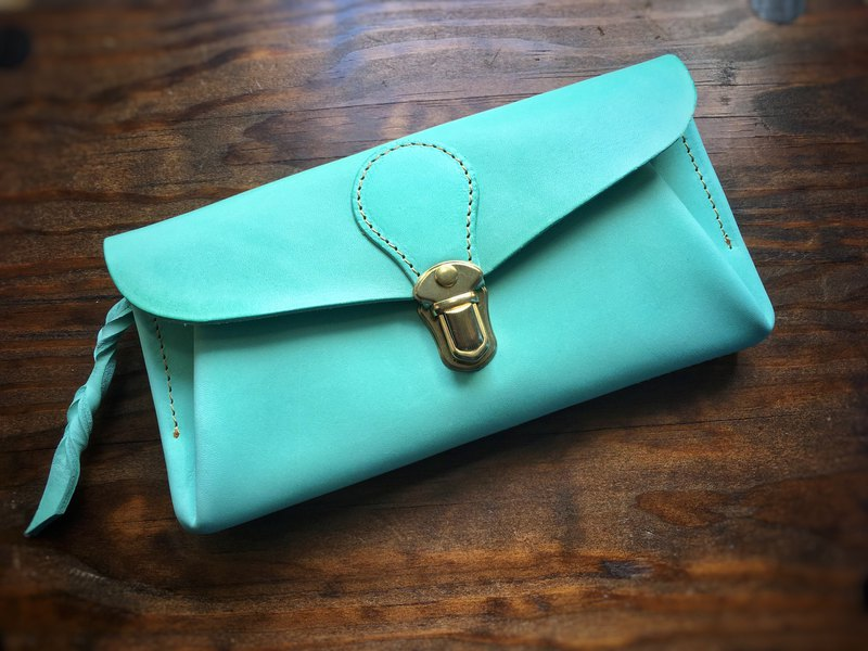Italian leather wallet series - envelope ice green