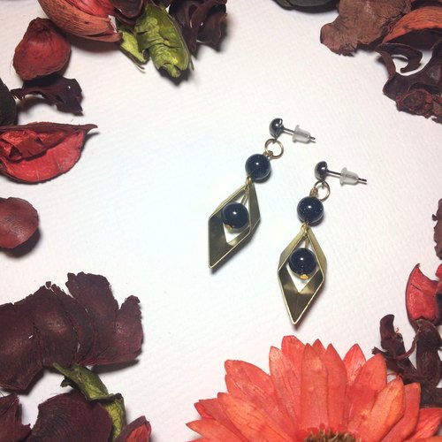 Solid brass blue sand crystal earrings