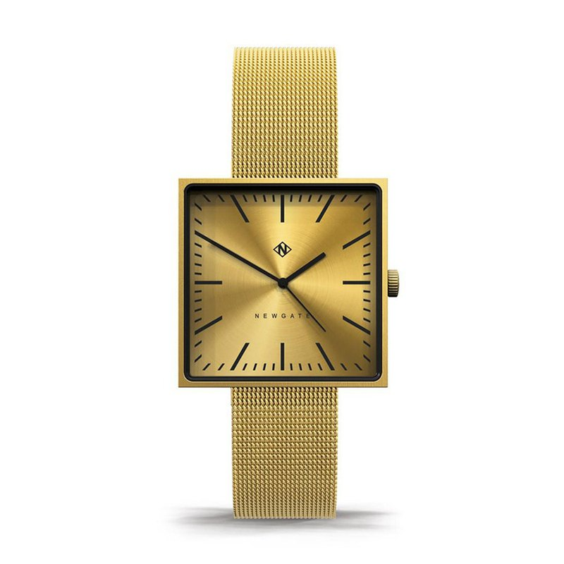 THE CUBELINE - SQUARE GOLD MESH STRAP WATCH