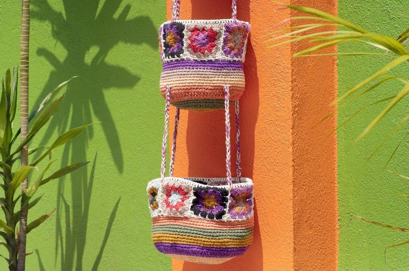 Valentine's Day gift limited to a hand-woven basket / basket / hanging bag / nest knitting basket - romantic purple forest flowers weaving