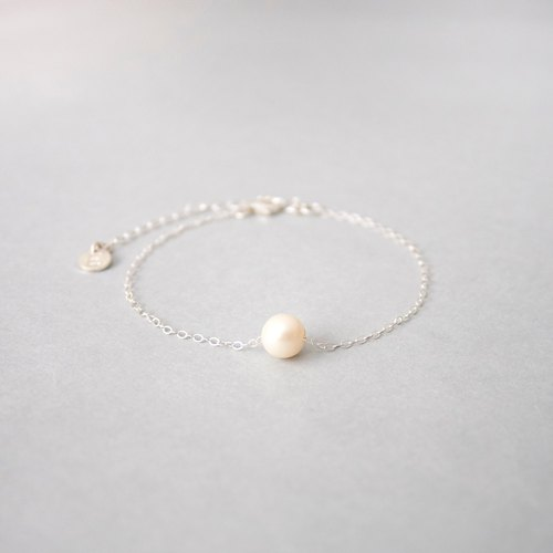 Handmade Sterling Silver Pearl Chain Bracelet, Custom letter initials on silver