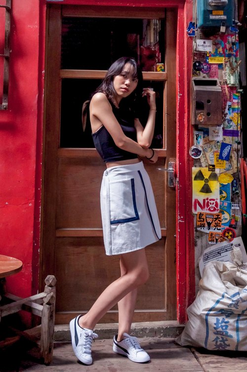 Mu Xu: big pocket trim skirt (white)