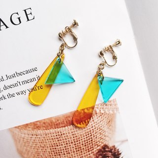 La Don - Contrast blue and yellow water droplets triangle ear / ear clip