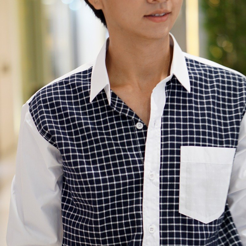 Men Checked-pattern shirt with long-sleeve.