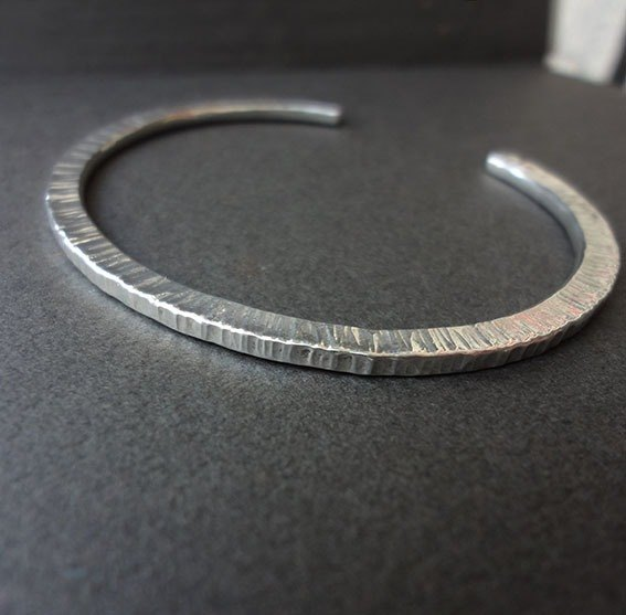 Corrugated Hand forged Silver Bracelet - Sterling Silver Basic