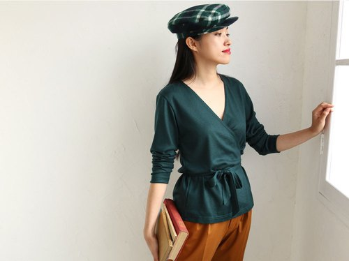 Viridian Green knit crossover cardigan