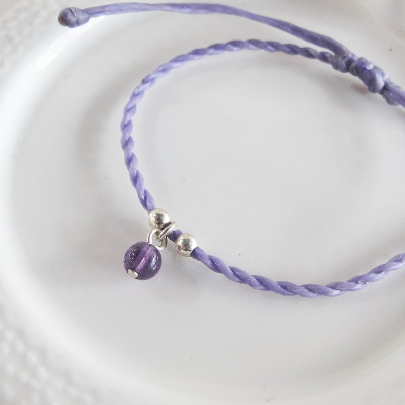 Big staff Taipa [handmade silver] amethyst × natural paraffin rope bracelet lavender purple