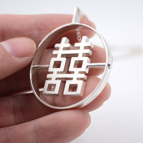 New Chinese style 囍字链 early independent design original handmade sterling silver double happiness sweater chain wedding gift