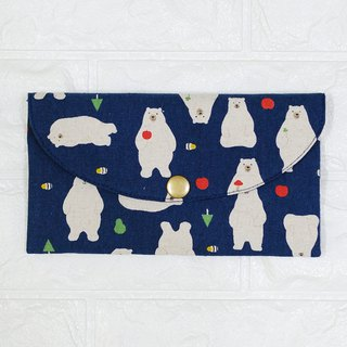 Play cloth hand made. Polar bear (dark blue) red bag passbook passport storage bag