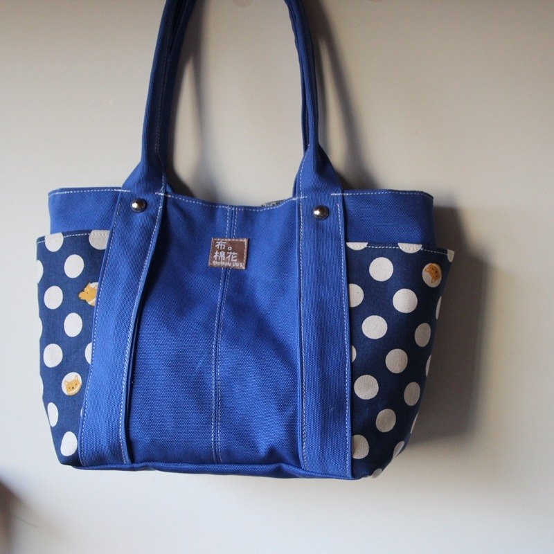 Cotton Fabric: Canvas Shoulder bag, ladies bag, Blue + spot