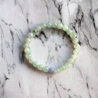 Journal-冰室茶集 Pure natural ice fine floating flower jade (Burma jade) boutique beaded bracelet exclusive