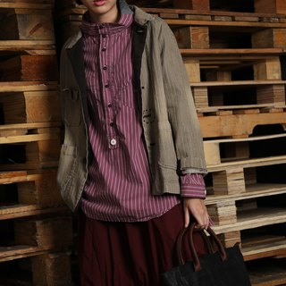 Native _ vertical wood horizon collar half open shirt