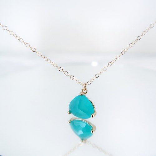14KGF/ MINT GLASS TRIANGLE TEARDROP NECKLACE