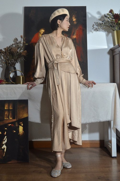 Vintage Inspired V Neck Beige Lined Maxi Dress with Fabric Belt