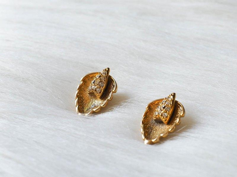 春季浪漫戀愛落葉 古董珠寶耳針式飾品 耳環 piercing earrings
