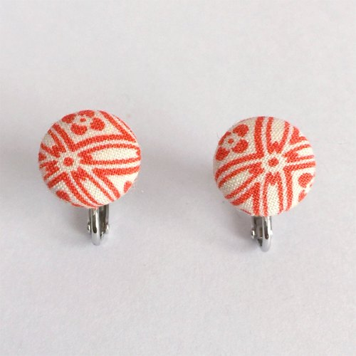 Clip-on earrings with Japanese Traditional Pattern, Kimono