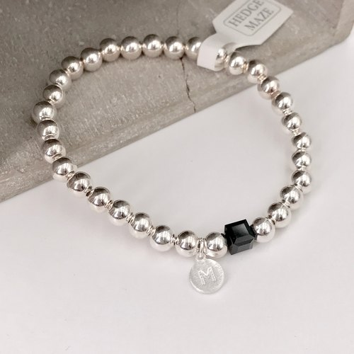 B10004(ADULT-6mm/BLACK) Initial Silver 925 Bracelet