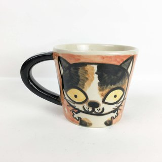 Nice Little Clay wide mouth mug flower cat 01062-08