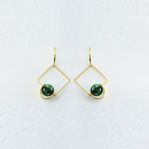 NATURAL Stone 925 Silver Earrings(Square) --- Futuristic, Simple, Fashionable