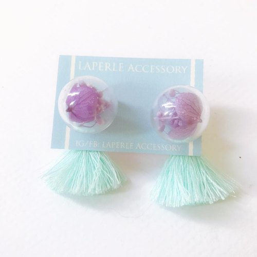 2 Ways Pastel Green Purple tassel Glass Ball Preserved Dry Flower Earrings Birthday gift Bridal shower bridesmaid Christmas