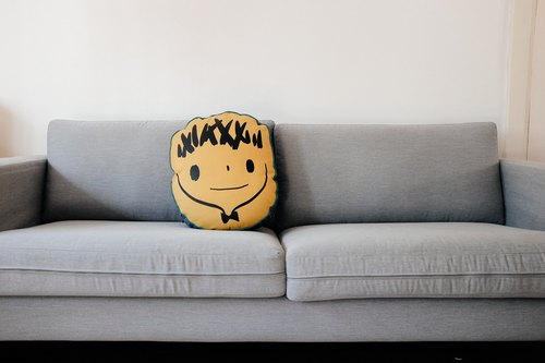 Brut Cake hand-crafted pillow cushion (2) _ cute hand-painted _ screen printing _ hand-sewn _ warm embracing smiling face