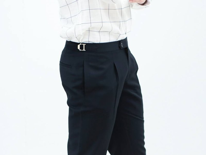 Navy - double belt trousers