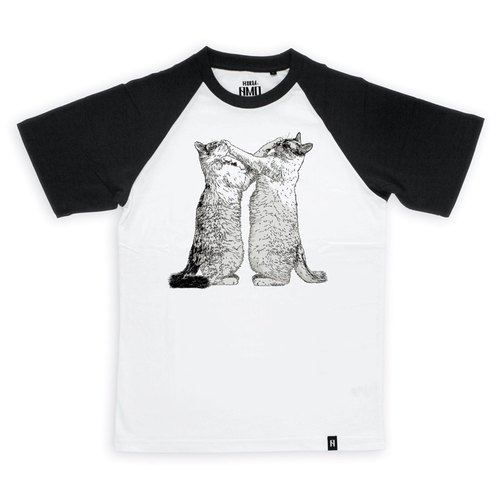 AMO®Original  canned  cotton T-shirt/AKE/Cats Who Promised Each Other Never Hitting Face But Both Did Only Did It