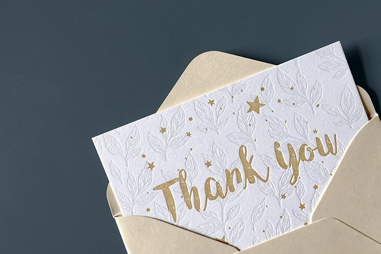 Letterpress prints thanks cards, Thanksgiving cards, Mother 's Day greeting cards, thankyou card, with envelopes