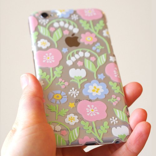【Clear iPhonePlus case】Spring pastel flowers
