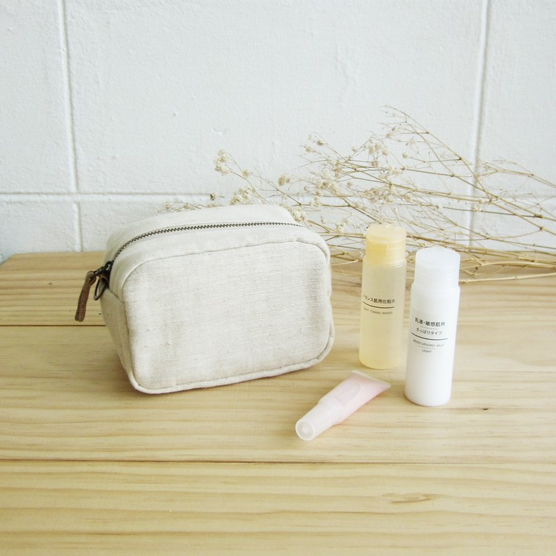 Multi Purpose Pouch Little Tan M Hand Woven Cotton Natural Color