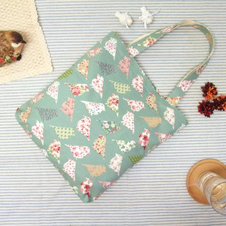 Rolia's hand-limited flower bird blue-green canvas bag shoulder bag
