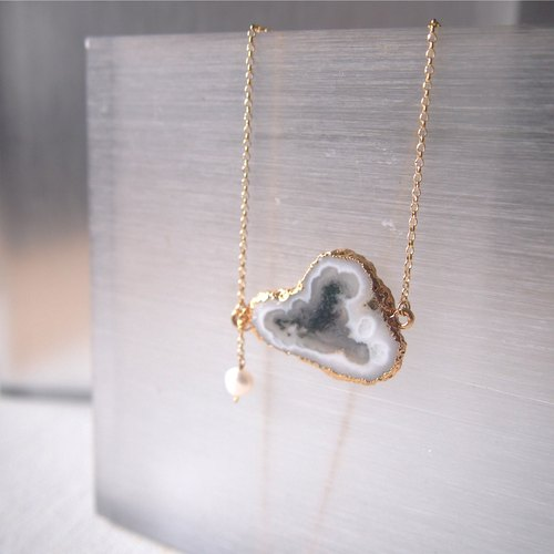 [ Little Cloud ] Dendritic Agate Necklace | Silver with 18K Yellow Gold Plated