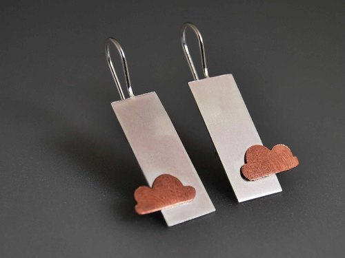 Silver rose gold plated earrings pastoral perspective rectangle simple wedding birthday confession of love cloud design anniversary gift E9023 | Greek original handmade jewelry This and That