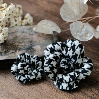 Houndstooth - Vintage Camellia Brooch I dyed cloth brooch