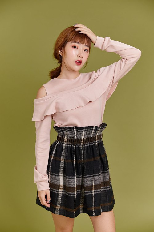 Irene ruffle knit top (Pink)