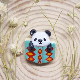 Panda and book handmade brooch