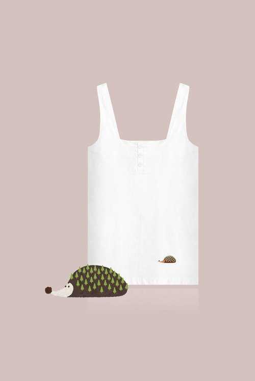 [exclusive limited] small tree hedgehog - wide straight strap dress