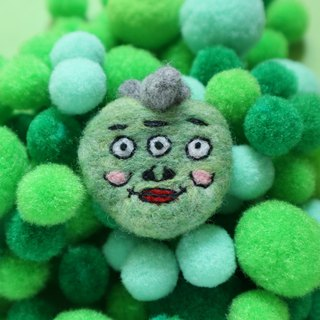 Three eyes grass green ugly-like wool felt brooch