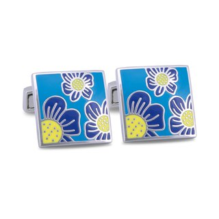 Bright Blue Enamel Floral designed Cufflinks