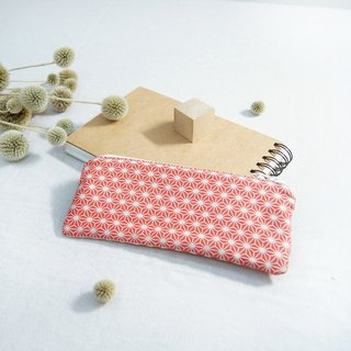 Hand made vintage geometric pencil case - red
