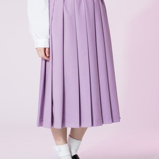 : In EMPHASIZE waist drawstring elastic waist sanded pleated skirt - pink and purple
