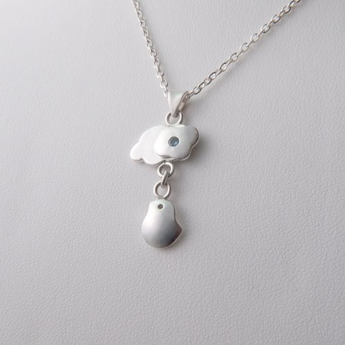 Birds flying in the clouds - sterling silver bird zircon necklace