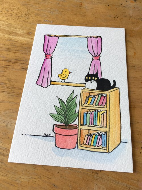 Hand painted postcard - Black pill on the bookcase