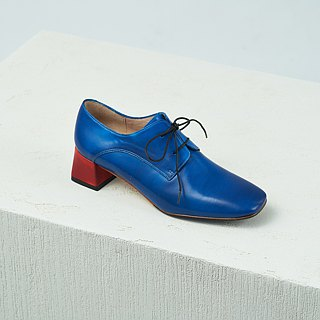 H THREE classic square Derby with shoes / deep sea blue / rough with / retro