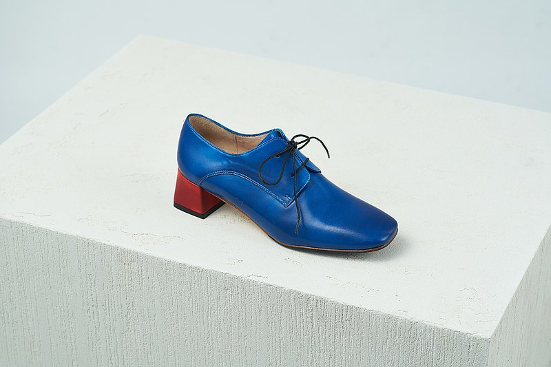 H THREE classic square head derby heel / deep blue / thick heel / retro