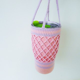 Romantic powder hollow cotton hand woven bag green bag water bottle bag