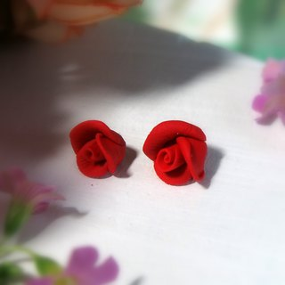 Rose Garden - Red Rose Earrings Ear Pin or Ear Clips Gift for Her / Handmade Ea