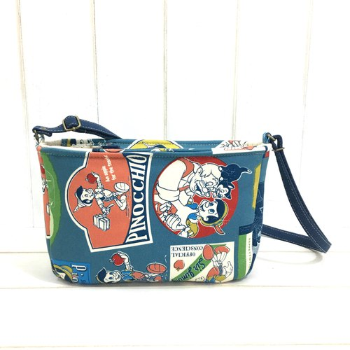 | • R • | Slice zip adjustable dual-use Sling / Slingback Bag | Pinocchio (Vintage Blue)