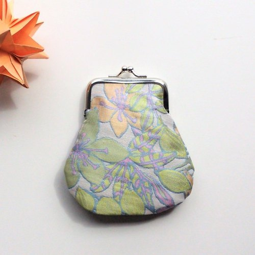 Mini Kisslock Pouch (Silver/Green)